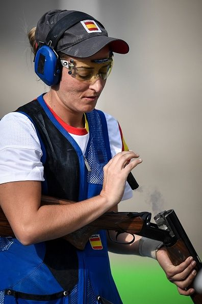 Spain's Fatima Galvez competes in the women's trap event at the Rio 2016 Olympic Games at the Olympic Shooting Centre in Rio de…