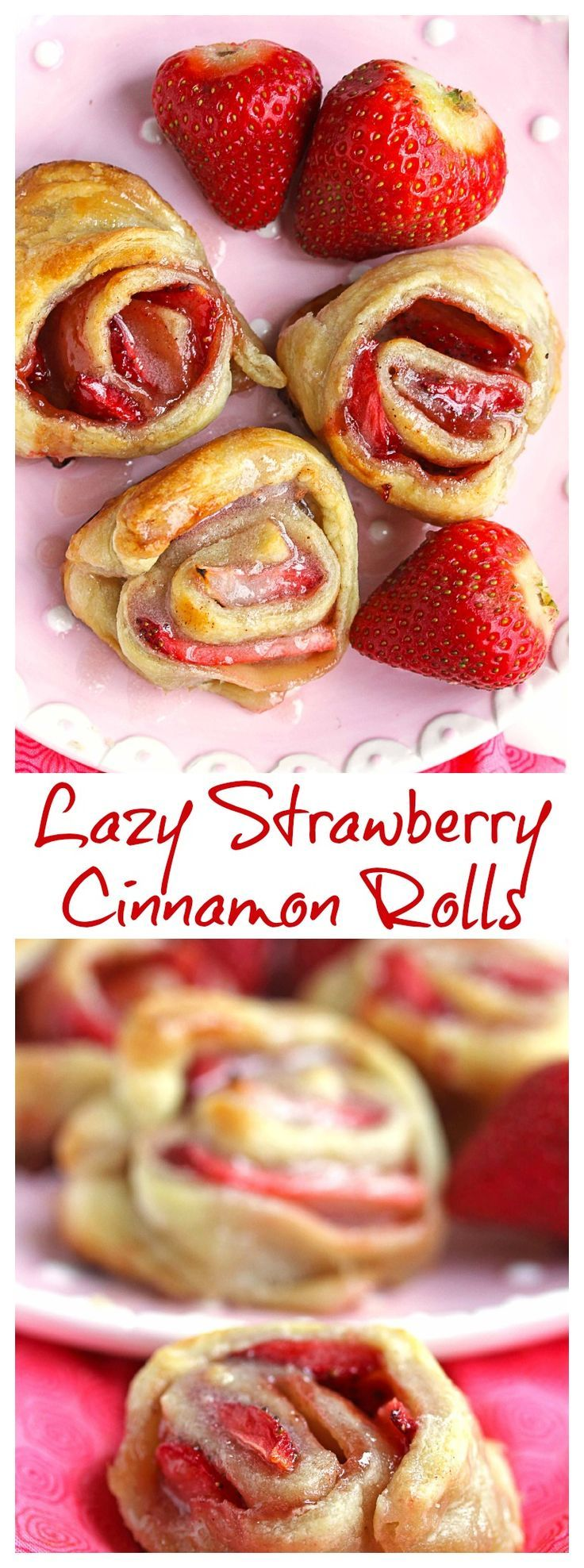 Lazy Strawberry Cinnamon Rolls - a sweet breakfast treat from @grandbabycakes