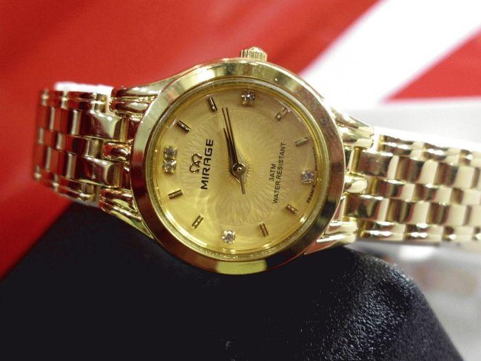 Mirrage Full Gold  Bahan stainless steel Type:Jam tangan wanita Diameter +-2.5cm Water resistent  Original,Garansi 6 bulan  Paket: - 1 buah jam tangan - Box - Kartu Garansi  Harga : Rp. 210.000