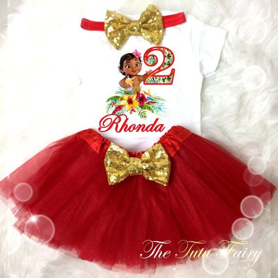 9a83cb933 Baby Moana Princess Red Gold 2nd Second Birthday Custom Age Name Baby Girl Birthday  Tutu Outfit Seq