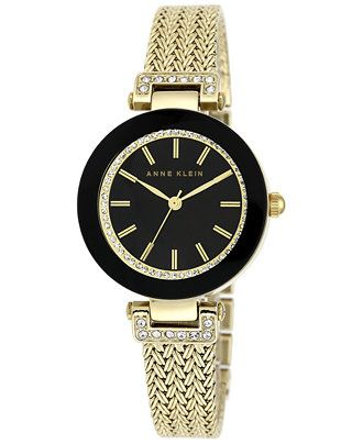 Anne Klein Women's Gold-Tone Stainless Steel Mesh Bracelet Watch