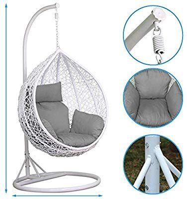 white swing chair uk covers for back popamazing rattan hanging stand cushion cover 150kg capacity