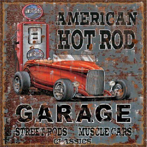 Decorating Ideas > Hot Rod Garage Vintage Sign  DecorDecorating  Pinterest ~ 065649_Hot Rod Garage Decorating Ideas