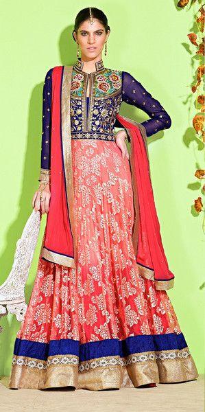 Royal Blue and Pink Floral Anarkali
