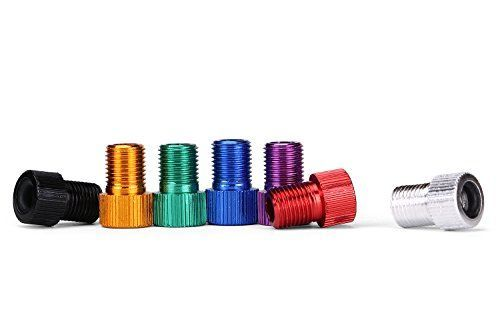 Decorative Bicycle Valve Capss - 7 Pcs Aluminum PRESTA to SCHRADER Converter Car Valve Adapter Bicycle Bike Tube Pump Air Compressor Tools 7 mixed colors *** Want to know more, click on the image.