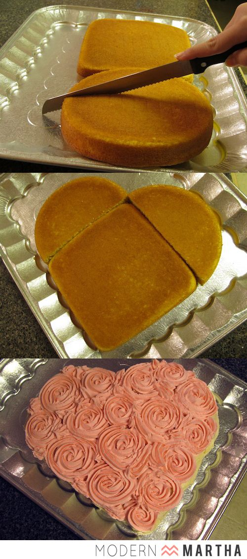 Heart Shaped Cake DIY for Valentine's Day | Make sure the diameter of the circle pan matches the length of the square pan. Cut the circle cake in half and place along the edges of the square cake to make a heart shape.