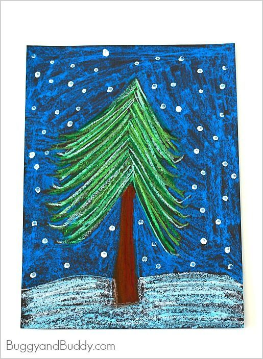 Here's a simple winter tree art project for kids using oil pastels. This art activity provides a wonderful way for children to explore different shades of cool winter colors while creating their very own winter tree drawings!