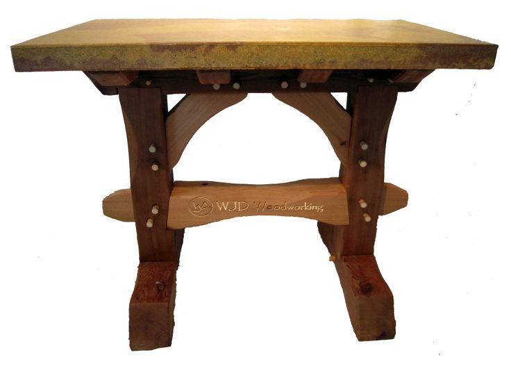 Bar Height Red Cedar Timberframe Trestle with a concrete Top