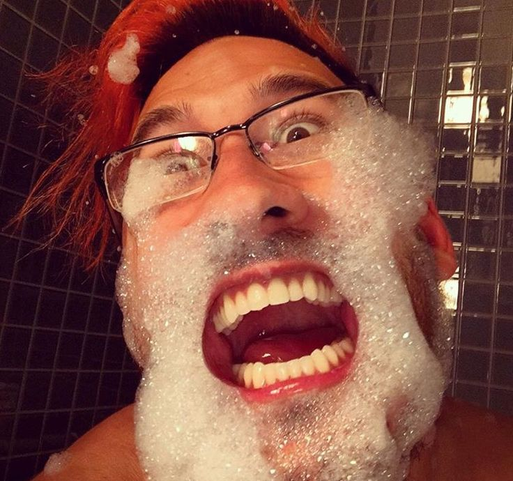 After watching Mark for so long, whenever he does something strange I don't question it. But this picture forced me to question him. Why is he wearing his glasses while taking a bath?