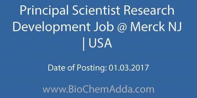 Principal Scientist Research Development Job @ Merck NJ | USA