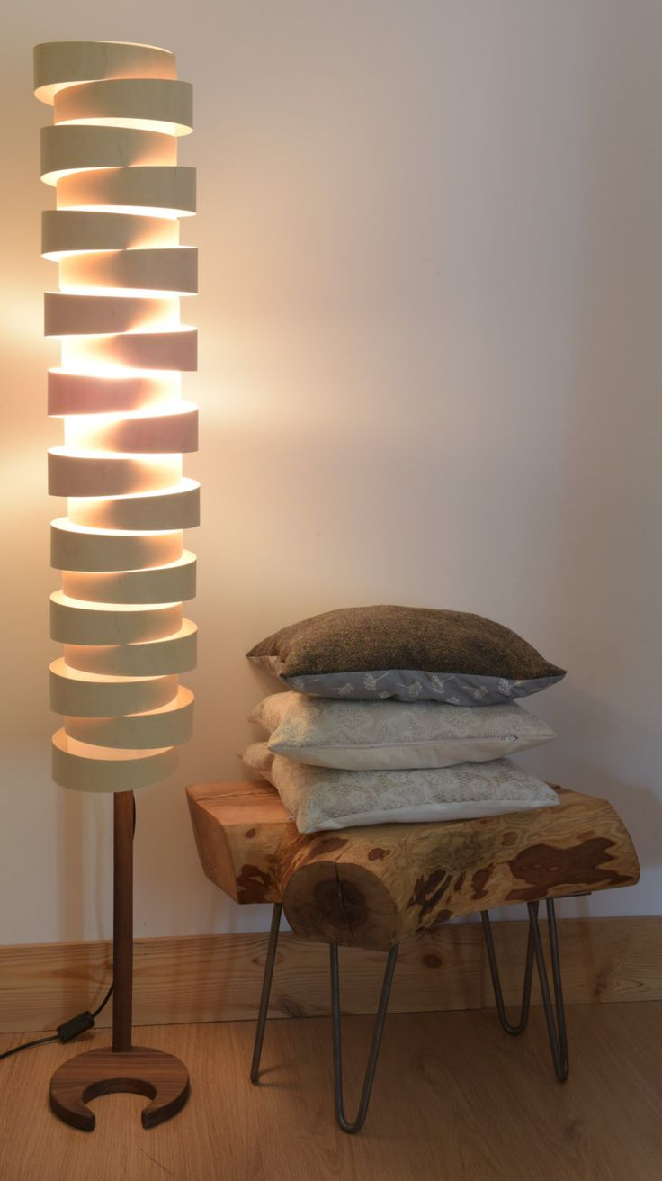 HANDMADE WOODEN FLOOR LAMP. The WRAP Floor lamp uses high-quality Birchwood plywood to create the simple but unique shade effect. Each strip is hand cut sa