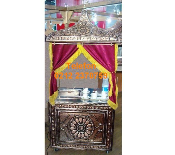 Kumda Türk Kahvesi Arabası İşlemeli Bakırdan Nostaljik Kumda Kahve Arabası AKKA90 Satış Telefonu 0212 2370749