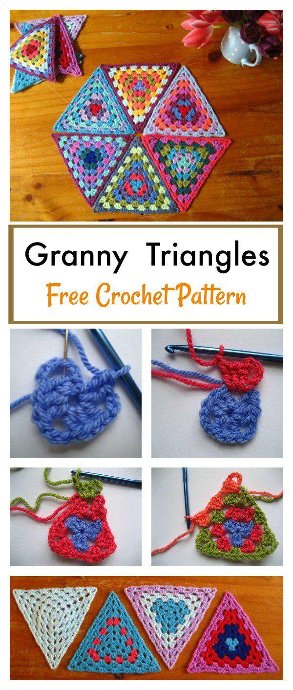 Granny Triangle Afghan Blanket Free Crochet Pattern | Tejido ...