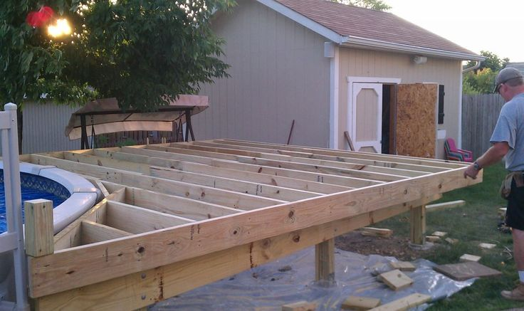 This past week i finally started building up the deck the - How to build an above ground pool ...