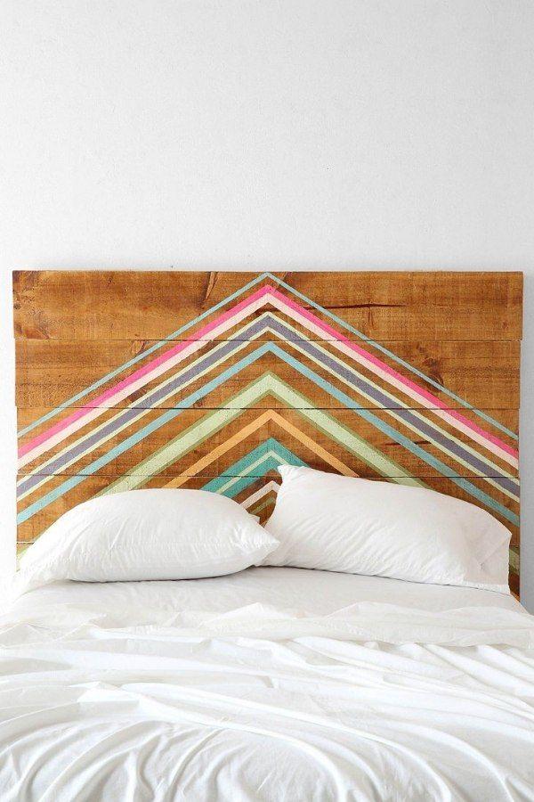 Ideen für DIY Bettkopfteil-bunte Streifen streichen-individueller Dekor