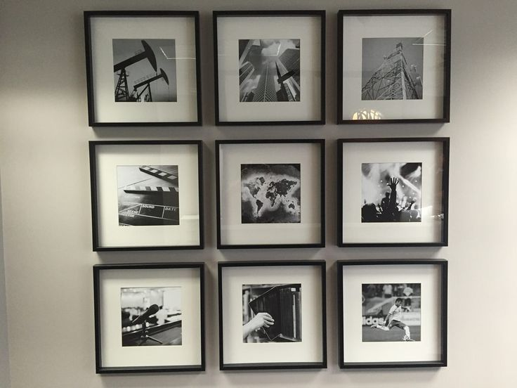 grid of 9 black and white photos on wall