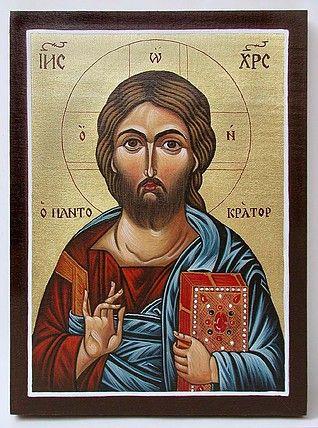 Icon of Jesus Christ Pantocrator painted by Marchela Dimitrova