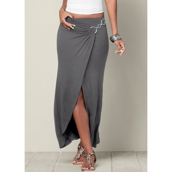 Venus Women's Surplice Maxi Skirt ($30) ❤ liked on Polyvore featuring skirts, grey, cross over skirt, gray skirt, grey maxi skirt, maxi skirts and long gray skirt