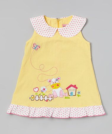Look what I found on #zulily! Yellow Sheep & House Ruffle Dress - Infant, Toddler & Girls by Hi-D #zulilyfinds
