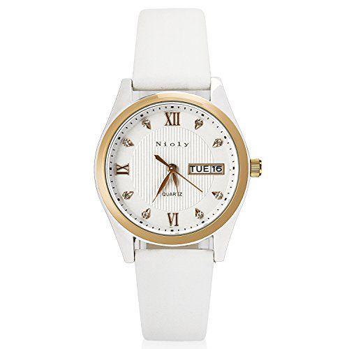Nioly 腕時計 レディース スタンダード アナログ ビジネス ウォッチ ピンクゴールド 日付 曜日表示化粧箱保証書付き