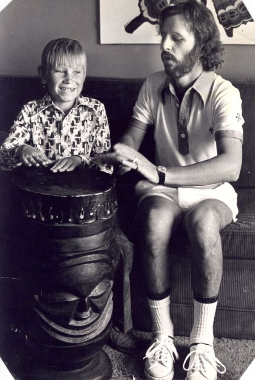 """ritchiestarkeythings: Ringo Starr giving a drum lesson to an Autistic boy named Gary. """"The correspondence started when I was ten with Autism and in those far off days there was no cure. However whilst lying in front of the radio the song, Yellow Submarine came on sung by Ringo. Immediately I started to reach to this stimuli after previously being unresponsive. This led to a breakthrough. The Beatles got to hear about this via there management and a delighted Ringo got in touch. We emigrated…"""