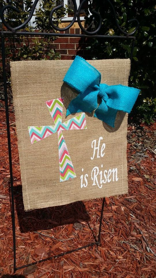 """""""He Is Risen"""" Easter burlap flag with bow. Handmade by Modern Butterfly this flag to celebrate the real meaning of Easter."""
