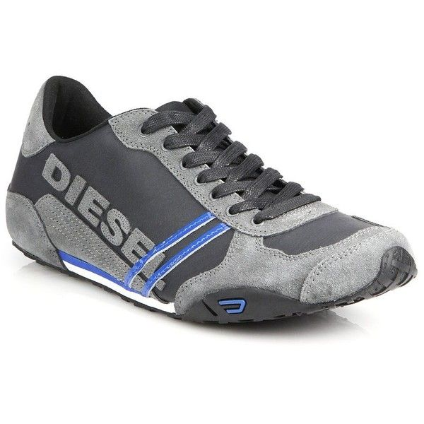 Diesel Solar Leather & Suede Sneakers : Diesel Shoes (900 EGP) ❤ liked on Polyvore featuring men's fashion, men's shoes, men's sneakers, apparel & accessories, diesel mens sneakers, mens leather shoes, mens leather sneakers, diesel mens shoes and mens suede shoes