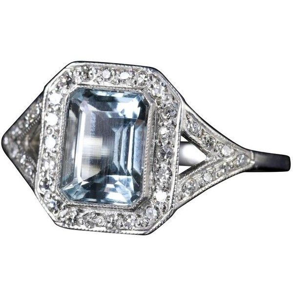Preowned Aquamarine Diamond Ring Art Deco 2.5 Carat Emerald Cut... ($2,366) ❤ liked on Polyvore featuring jewelry, rings, engagement rings, green, yellow gold diamond rings, aquamarine rings, yellow gold engagement rings, green engagement rings and pre owned engagement rings
