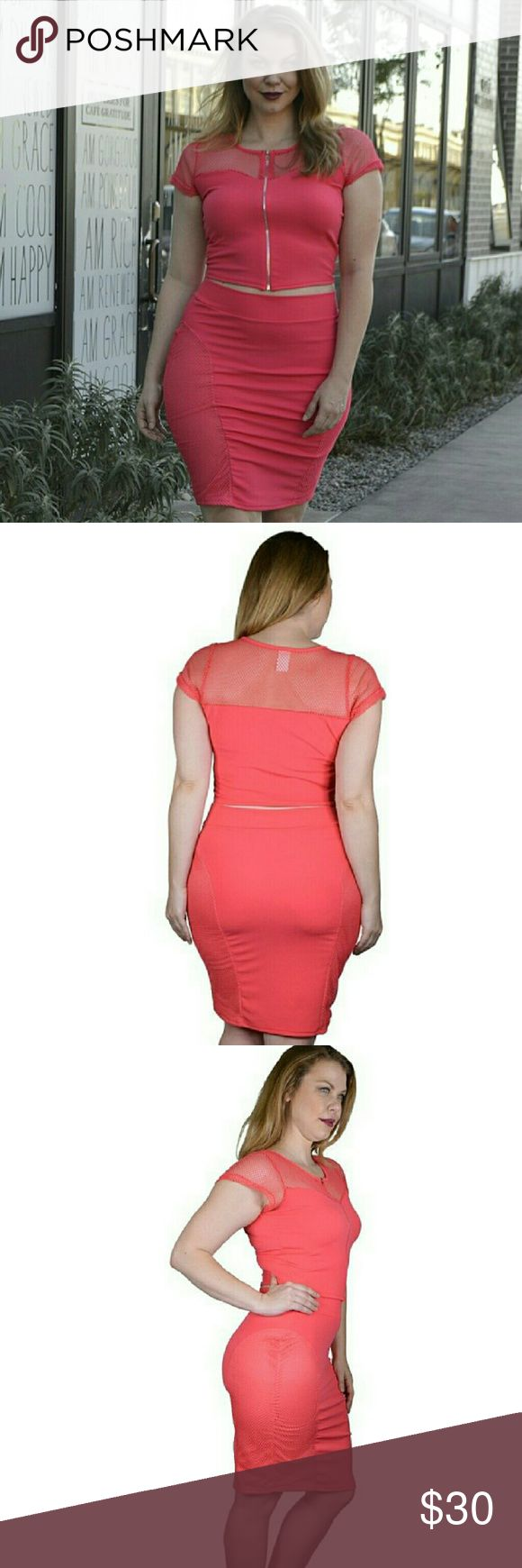 Plus Size Crop Top and Pencil Fitted Skirt Set Made In U.S.A 1XL.2XL.3XL 96% Polyester 4% Spandex Pink? Tops Crop Tops