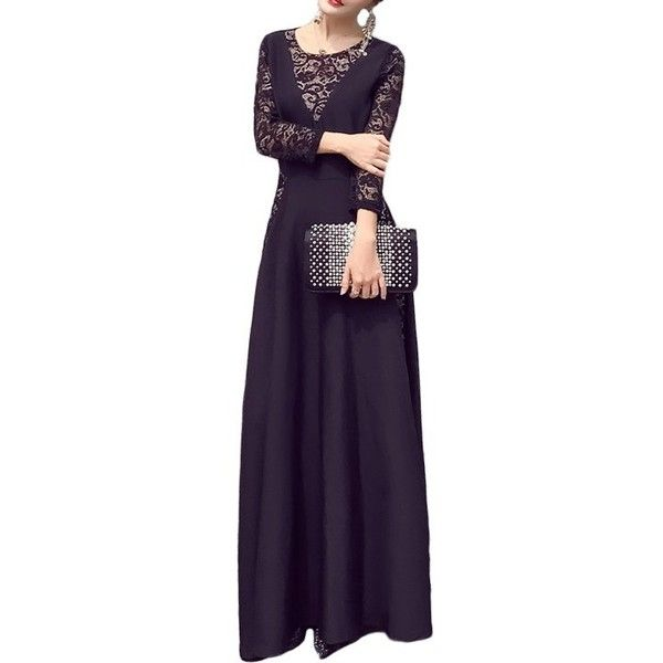 Lace Hollow Out Maxi Dress ❤ liked on Polyvore featuring dresses, maxi length dresses, maxi dresses, purple dresses, lacy dress and purple maxi dresses