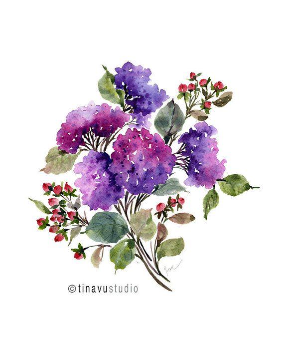 Purple Hydrangea Bouquet. August birthday flowers. by TinaVuStudio