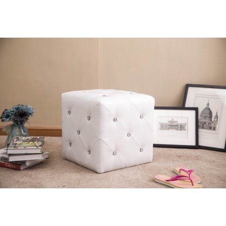 Warehouse of Tiffany Forza White Cubed Ottoman Stool with Crystal Accents WTF1343 White