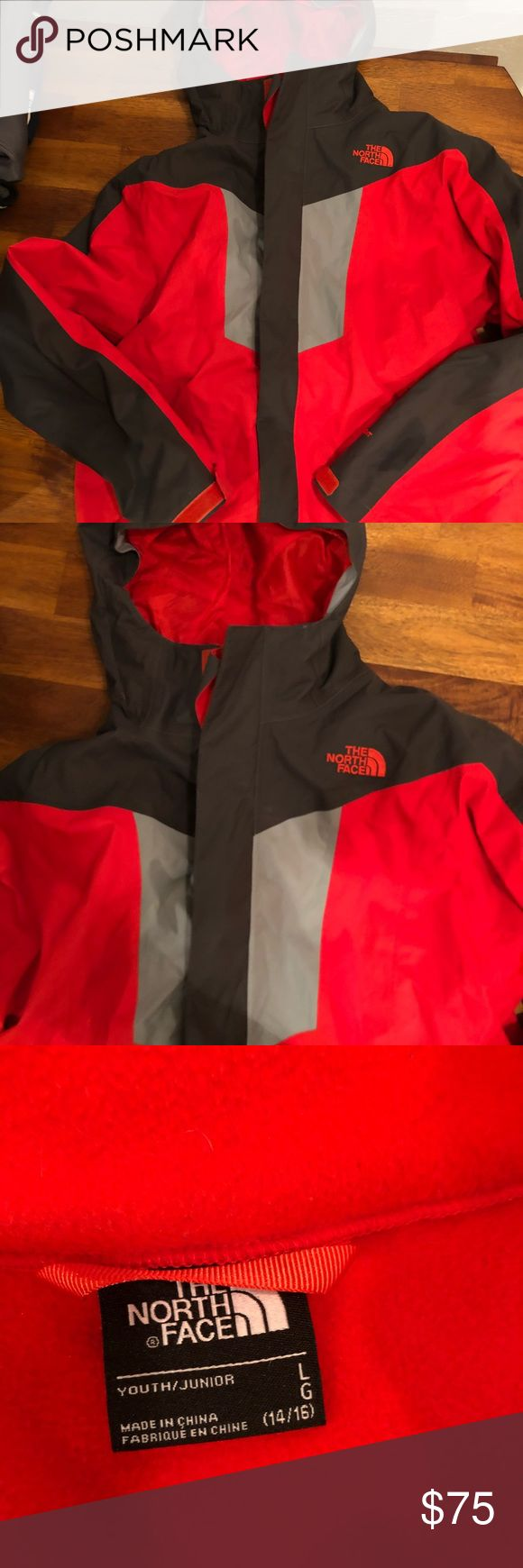 The North Face Boys Coat (14/16) Red and black The North Face coat with removable lining. In great condition with very small mark on back as shown on picture.  Size youth large 14/16 The North Face Jackets & Coats