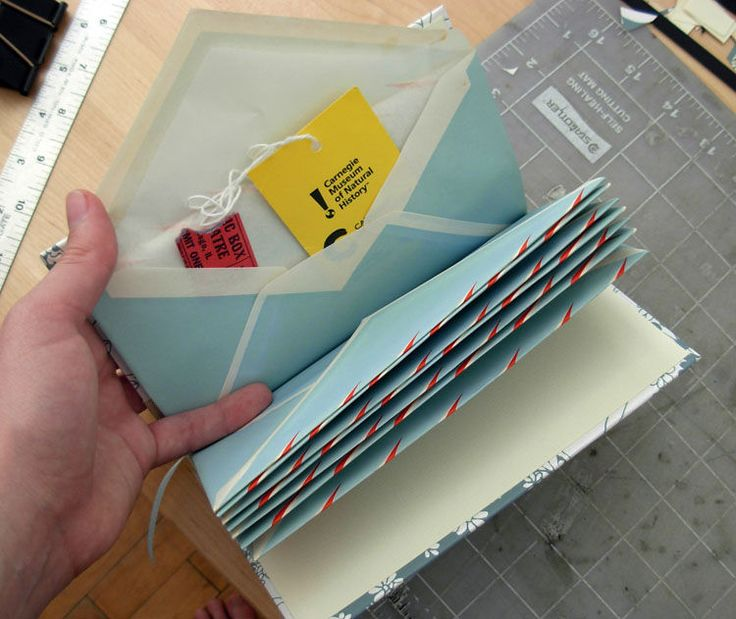 DIY Envelope Book -- to store your little treasures, but it's a nice little DIY bookbinding tutorial, even if you use plain paper instead of envelopes.