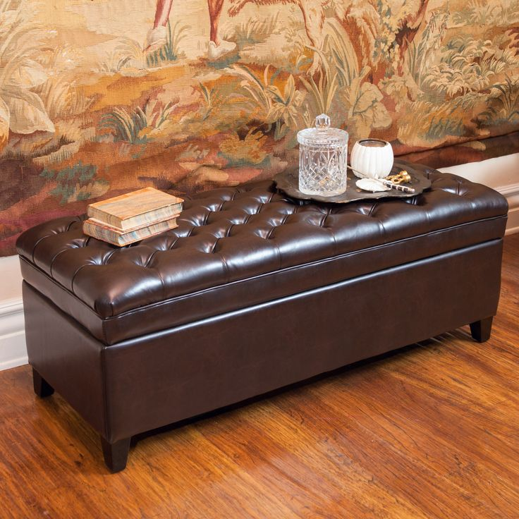 Barton Tufted Brown Leather Storage Ottoman