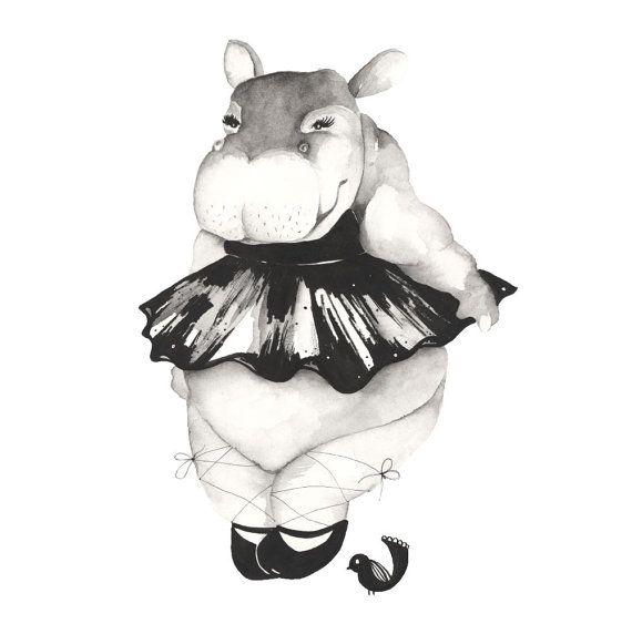 Dancing Hippo, A4 print, 21cm x 29.5cm, unframed