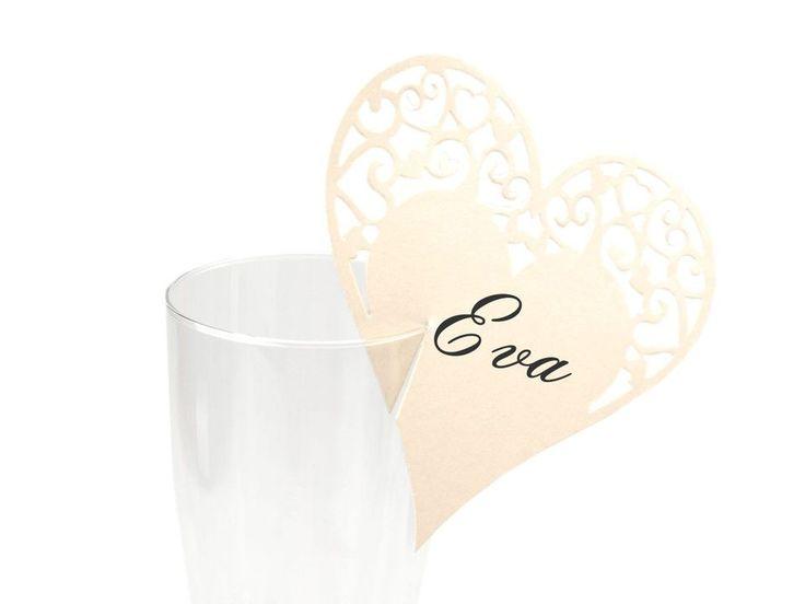 Jmenovka na skleničky 95x100 mm srdce