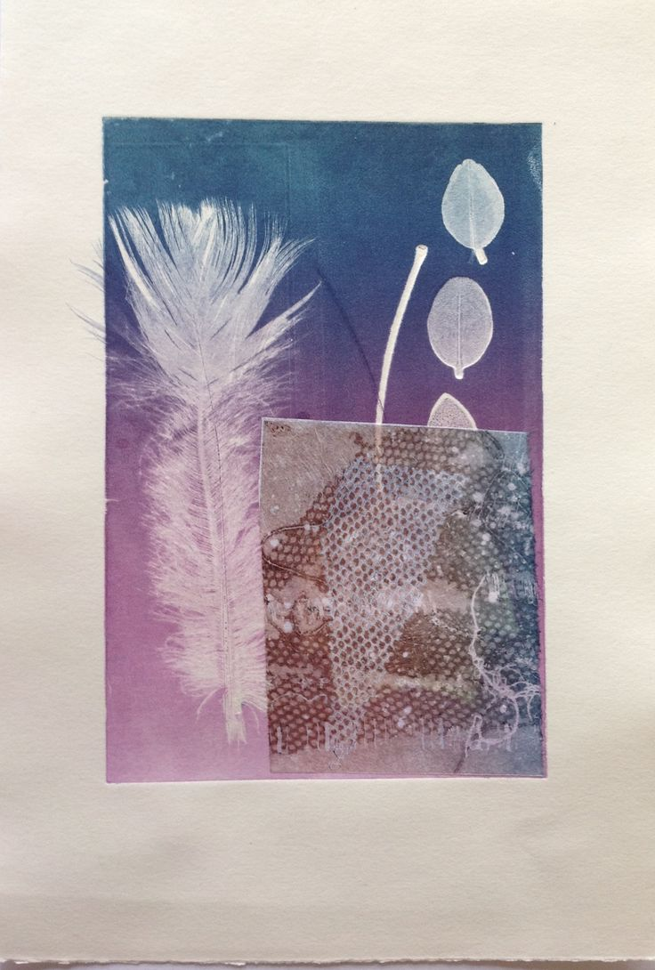 Still Life with feather: Monoprint on Stonehenge paper with Chine Colle. Image size 12.5cm x 19cm