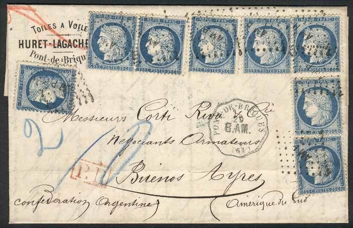 France, 29/SEP/1875 PONT DE BRIQUES - ARGENTINA: complete folded letter franked by Yv.60C x8 (total 2Fr.), cancelled by AMP inside dotted rhombus, and several transit markings, Buenos Aires arrival, superb, fantastic! Starting Price (11/2016): 671 EUR.