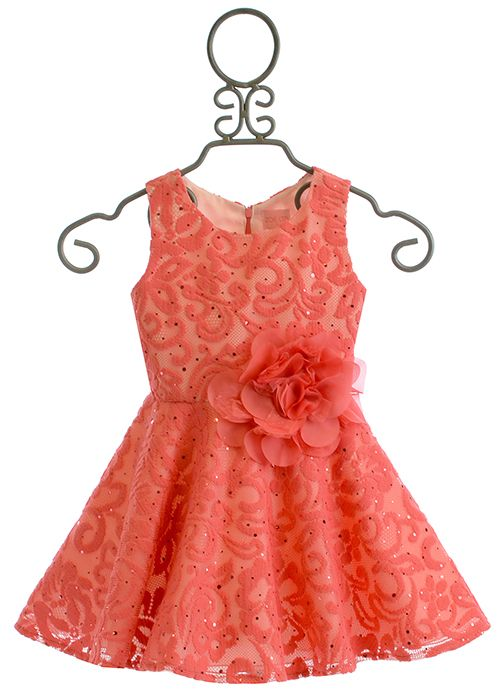 Zoe LTD Girls Coral Lace Dress (6X,7,14,16)