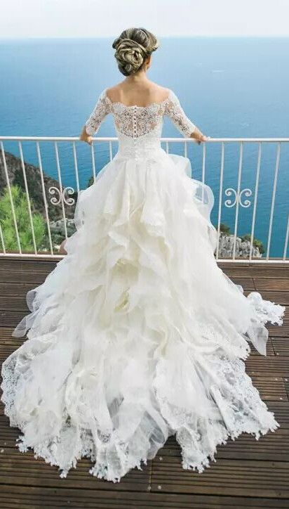 Layers Ball Gown Lace Half Long Sleeves Off-the-Shoulder Wedding Dresses