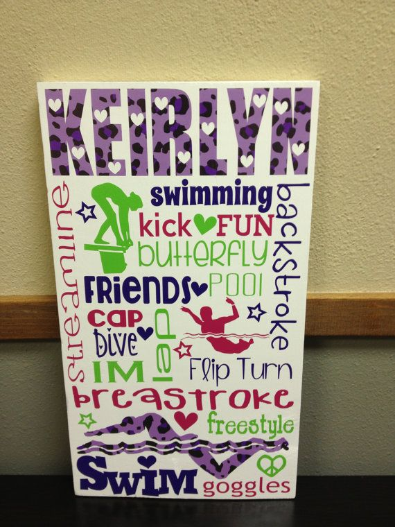 Great Christmas Gift! Can do any Sport! Personalized Wooden Swim Teen Tween Sign by SwirlyTwirlyDesigns, $55.00