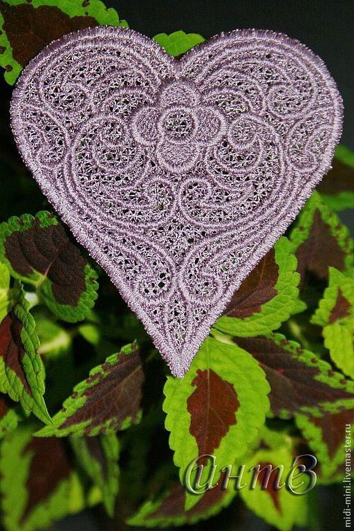 Купить вышивка, кружево, аппликация ажурная, кружевное сердце - вышивка шелковыми нитками, аппликация для скрапа