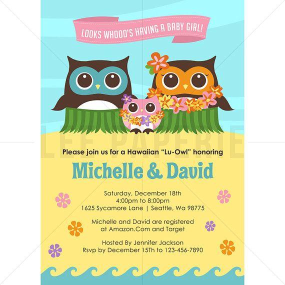 BSG001   Luau Baby Shower Invitation   Pink Owl Luau Baby Shower Invite    Girl Baby Shower Invitation   Hawaiian Baby Shower Invitation