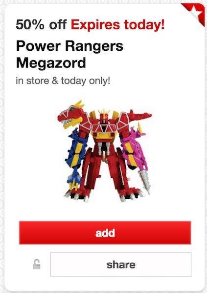 Check out this deal at Target! Now through December 24th, you can get 50% on a different toy each day with the Cartwheel app! Today, you can get 50% Off Power Rangers Megazord Toy! Get it for only $14.99! If this is on your shopping list, grab this deal! Valid in-store and today only! Target …