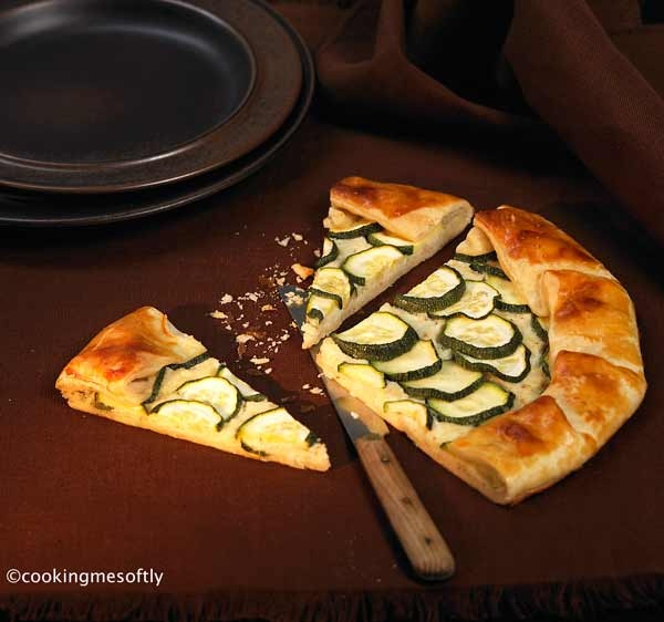 Cheese and zucchini pleated quiche