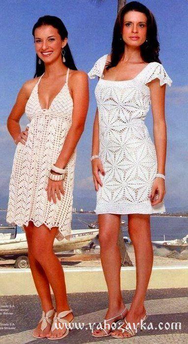 Белые платья для лета крючком со схемами. Новые модели платье крючком на лето