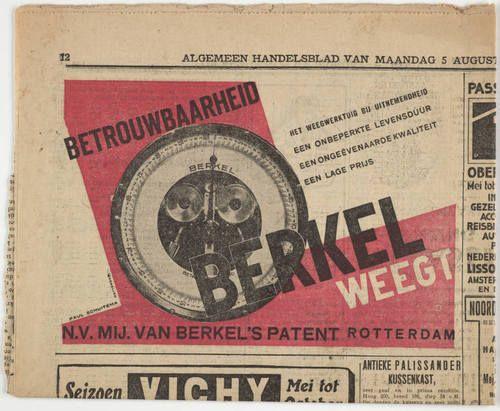 Paul Schuitema - P. Van Berkel Scales, Newspaper advert, 1928