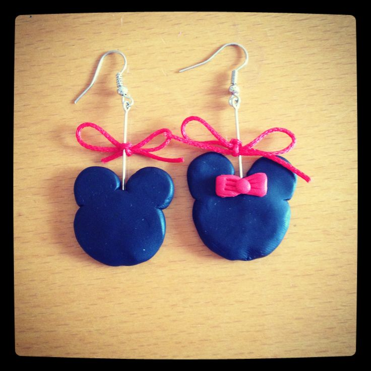 Mickey and Minnie earrings #fimo