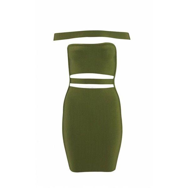 """""""KYLIE"""" Khaki bandage dress ($75) ❤ liked on Polyvore featuring dresses, bandage dress, khaki dress, green bandage dress and green dress"""